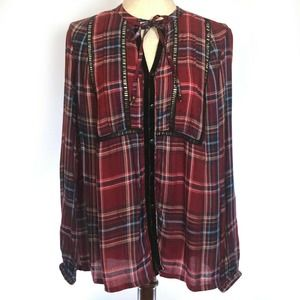 Seven7 Jeans Western Peasant Top Long Sleeve Plaid